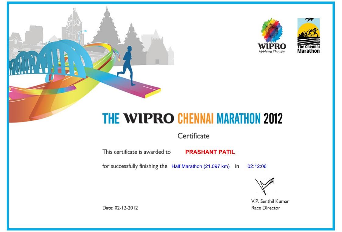 I Run Chronicles Of Chennai Marathon 2012 pertaining to Free Marathon Certificate Templates