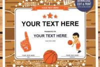 Instant Download Basketball Award Certificate Editable Pdf intended for Quality Editable Baseball Award Certificates