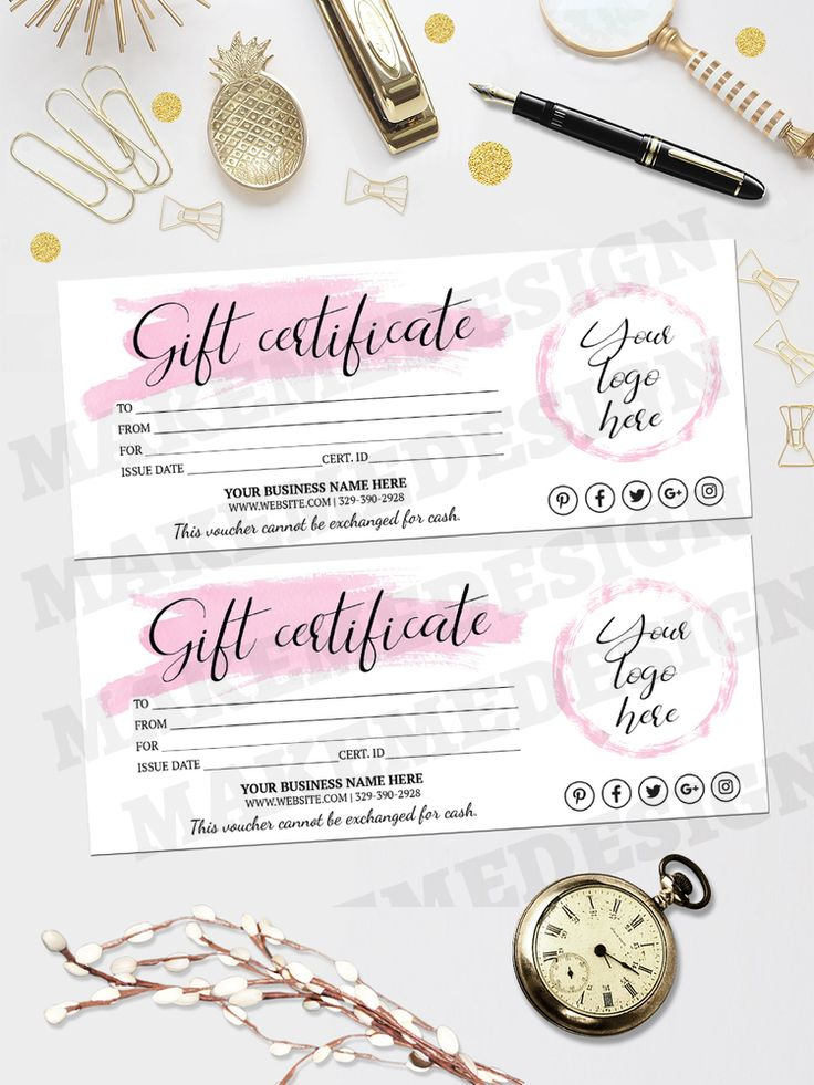 Instant Download  Gift Certificate Template Pink Voucher in Best Pink Gift Certificate Template
