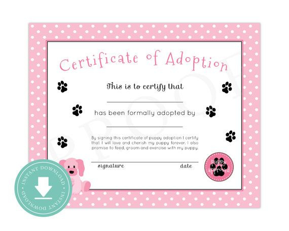 Instant Download Puppy Adoption Certificate Puppy for Awesome Rabbit Adoption Certificate Template 6 Ideas Free