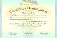 International Conference Certificate Templates  Shev with Awesome Participation Certificate Templates Free Download