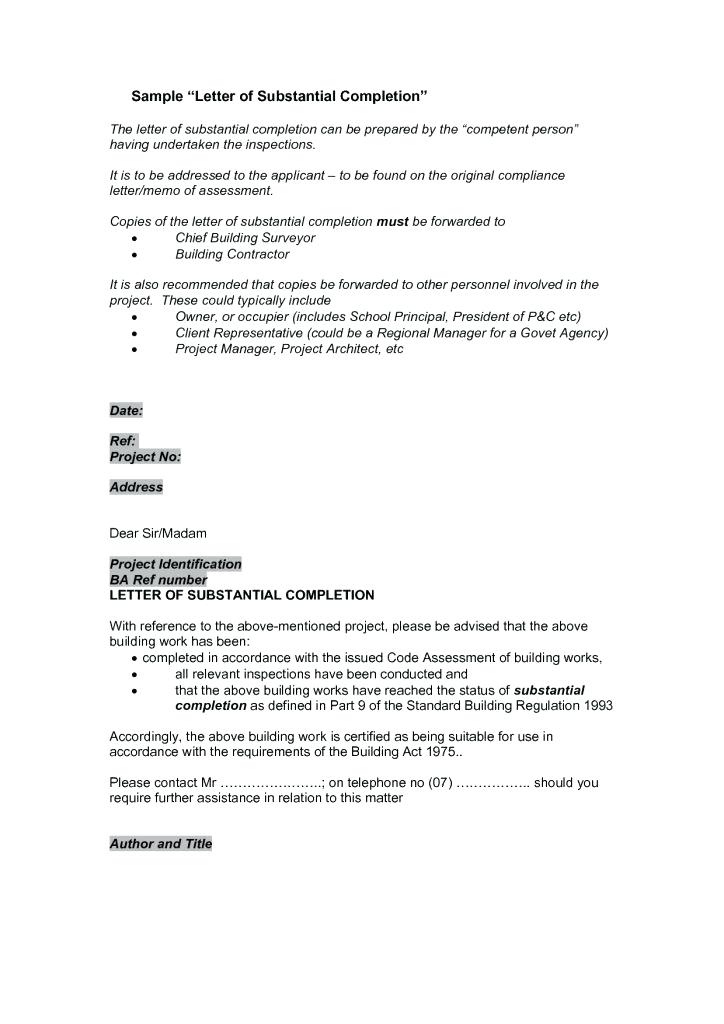 Jct Practical Completion Certificate Template  Templates for Jct Practical Completion Certificate Template