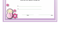 Jewish Baby Girl Naming Certificate Template Printable Pdf for Baby Shower Game Winner Certificate Templates