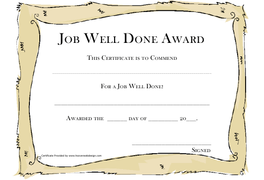 Job Well Done Award Certificate Template Download regarding Awesome Good Job Certificate Template