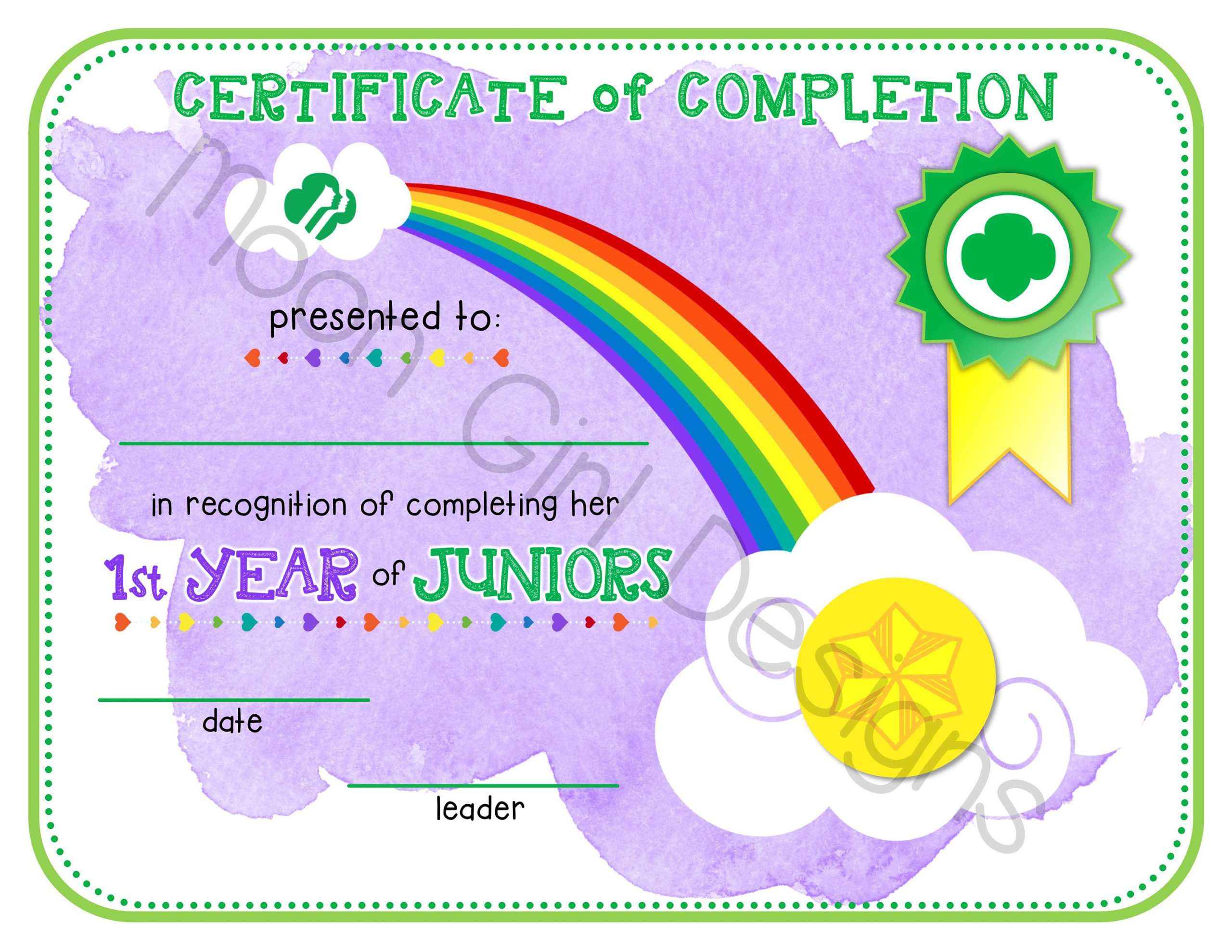 Junior Girl Scout 1St Year Completion Certificate Template pertaining to First Haircut Certificate Printable Free 9 Designs