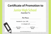 Junior High School Promotion Certificate Printable Certificate with Grade Promotion Certificate Template Printable