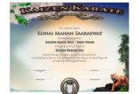 Kaizen Karate  Junior Black Belt Certificate  Martial inside Awesome Martial Arts Certificate Templates