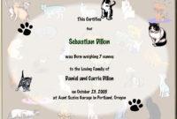 Keepsake Cat Birth 85 X 11 Inch Certificate  Cat Collage in Printable Cat Adoption Certificate Template 9 Designs