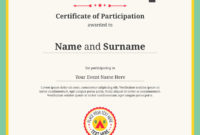 Kid Certificate Of Participation Template For Camp in Free Certification Of Participation Free Template