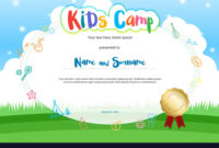 Kids Summer Camp Diploma Or Certificate With Vector Image intended for Best Certificate For Summer Camp Free Templates 2020