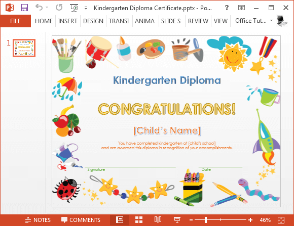 Kindergarten Diploma Certificate Powerpoint Template  Fppt in Printable Preschool Graduation Certificate Template Free