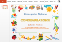 Kindergarten Diploma Certificate Powerpoint Template with Free Free Printable Certificate Templates For Kids