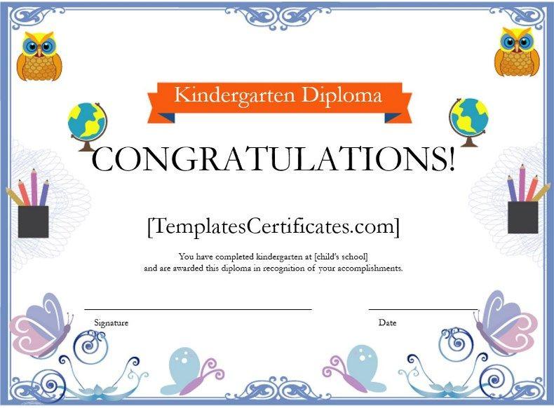 Kindergarten Diploma Certificate Template  Kindergarten in Free Printable Kindergarten Diploma Certificate