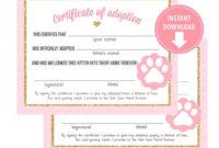 Kitten Adoption Certificate  The W Guide inside Cat Adoption Certificate Template