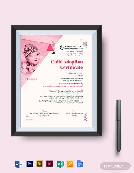 Kitten/Cat Adoption Certificate Template  Word Doc regarding Cat Adoption Certificate Template 9 Designs