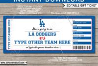 La Dodgers Game Ticket Gift Voucher  Printable Surprise regarding Quality 5K Race Certificate Template 7 Extraordinary Ideas