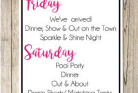 Las Vegas Bachelorette Party Weekend Invitation With Itinerary pertaining to Best Bachelorette Party Agenda Template