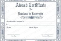 Leadership Award Certificate Template 2  Templates with regard to Leadership Award Certificate Templates