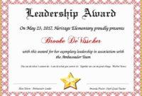 Leadership Certificate Template Free Of Leadership intended for Leadership Award Certificate Template