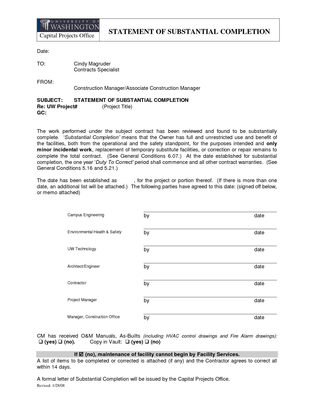 Letter Of Substantial Completion  Free Printable for Best Certificate Of Substantial Completion Template