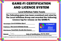 Li Table Tennis Gamefi Certificatelevelinfinitum On pertaining to Table Tennis Certificate Template Free