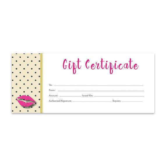 Lips Lipsense Pink Lips Blank Gift Certificate inside Best Best Girlfriend Certificate Template