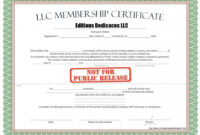 Llc Member Certificate Template  Addictionary in Corporate Secretary Certificate Template