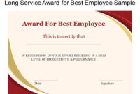 Long Service Award For Best Employee Sample  Presentation with Amazing Long Service Certificate Template Sample