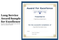 Long Service Award Sample For Excellence  Presentation for Long Service Award Certificate Templates