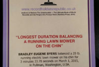 Longest Duration Balancing A Running Lawn Mower On The pertaining to Best Guinness World Record Certificate Template