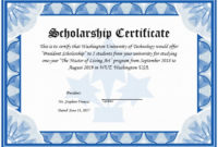 Lovely Scholarship Award Certificate Example with regard to Art Award Certificate Free Download 10 Concepts