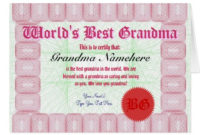 Make A World'S Best Grandma Certificate Award Card  Zazzle intended for 9 Worlds Best Mom Certificate Templates Free
