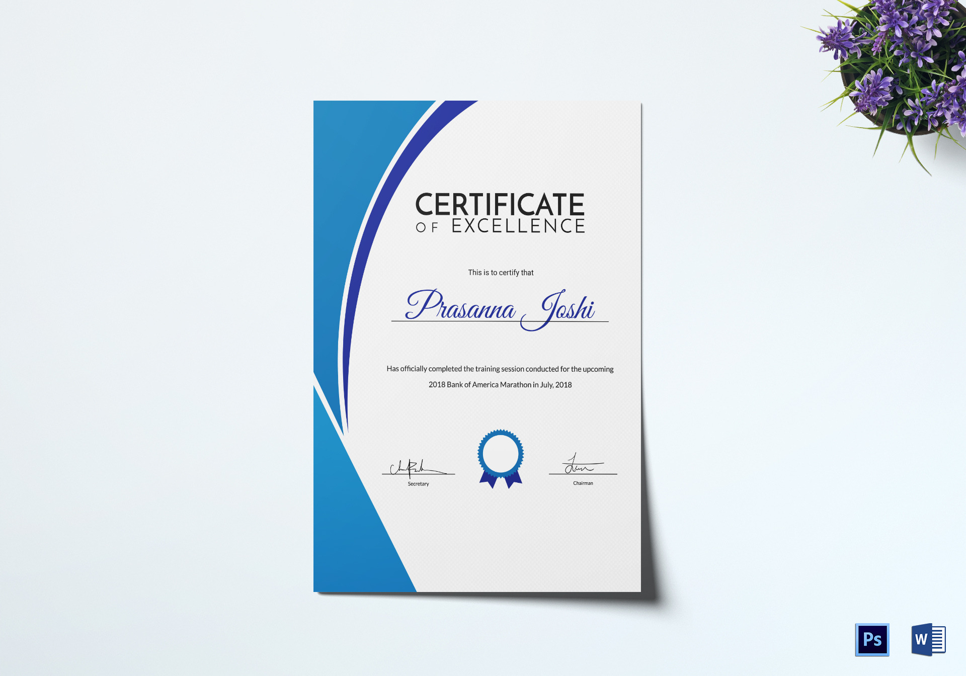 Marathon Training Certificate Design Template In Psd Word With Regard To Amazing Training Certificate Template Word Format