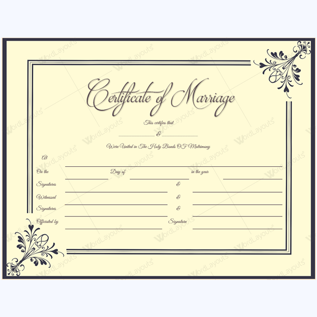 Marriage Certificate 34  Word Layouts  Marriage throughout Marriage Certificate Template Word 10 Designs