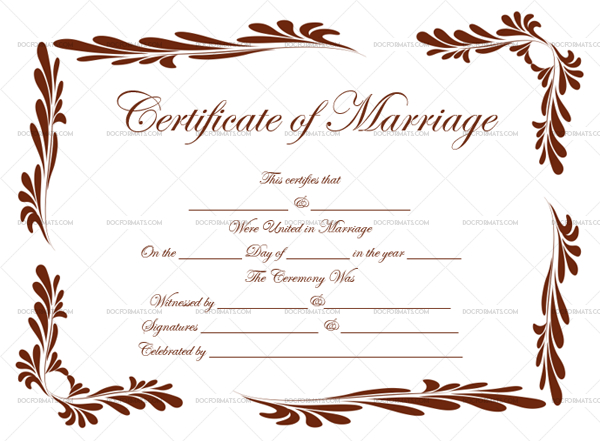 Marriage Certificate Template 11 For Word  Pdf with regard to Free Certificate Of Marriage Template