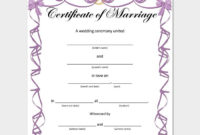 Marriage Certificate Template  22 Editable For Word in Marriage Certificate Editable Templates