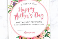 Mary Kay Mother'S Day Gift Certificate Find It Only At Www throughout Mary Kay Gift Certificate Template
