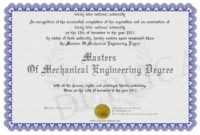 Masters Of Mechanical Engineering Degree  Certificate with regard to Awesome Robotics Certificate Template