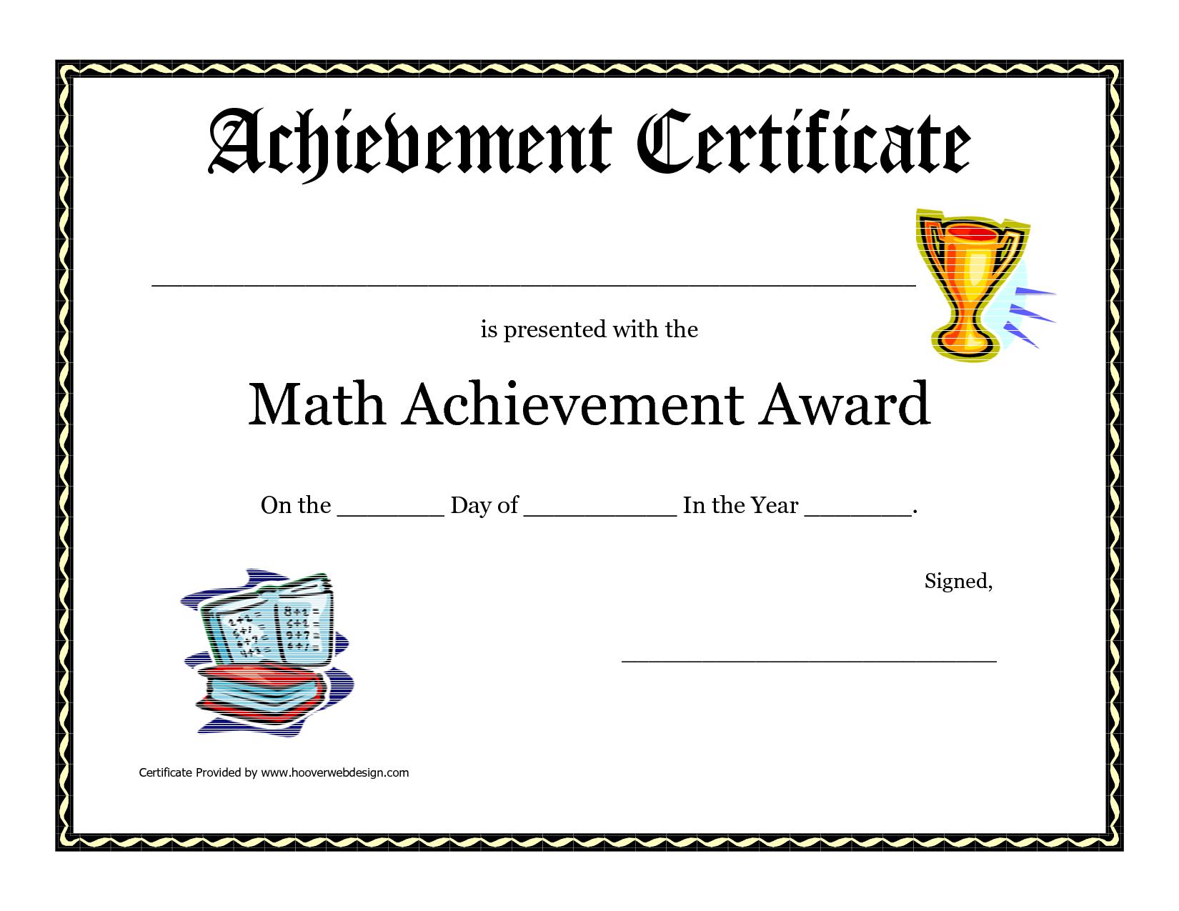 Math Achievement Award Printable Certificate Pdf in Science Fair Certificate Templates