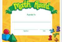Math Award Gallery with regard to Best Math Achievement Certificate Templates