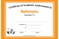 Mathematics Academic Achievement Certificate Template for Academic Achievement Certificate Template