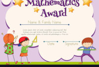 Mathematics Certificate With Student In Background in Math Award Certificate Template