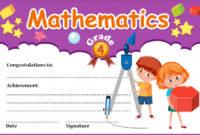 Mathematics Diploma Certificate Template Vector  Premium throughout Math Certificate Template