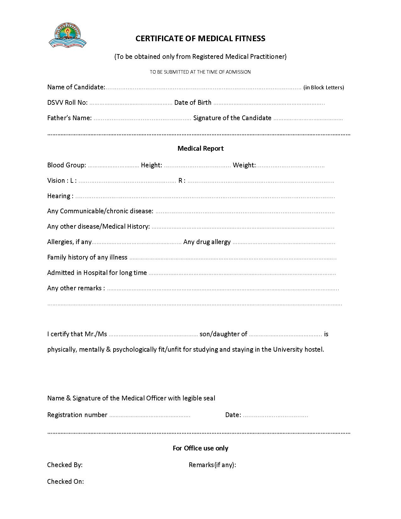 Medical Fitness Certificate  Wanew pertaining to Quality Physical Fitness Certificate Templates