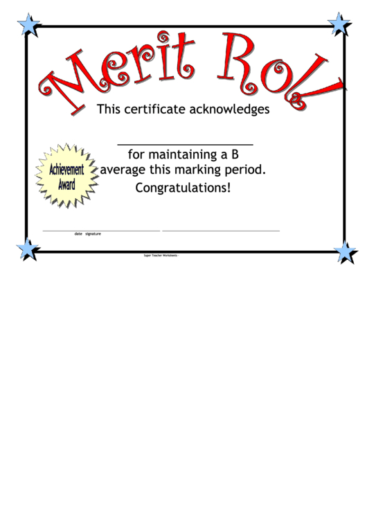 Merit Roll Certificate Printable Pdf Download with regard to Best Merit Award Certificate Templates