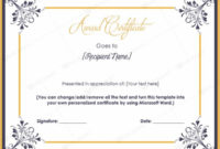 Microsoft Word Award Certificate Template 9  Best regarding Microsoft Word Certificate Templates