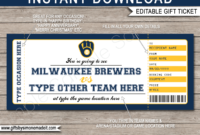 Milwaukee Brewers Game Ticket Gift Voucher  Printable for 5K Race Certificate Template 7 Extraordinary Ideas