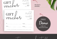 Minimalist Gift Certificate Template  Printable Gift pertaining to Quality Black And White Gift Certificate Template Free