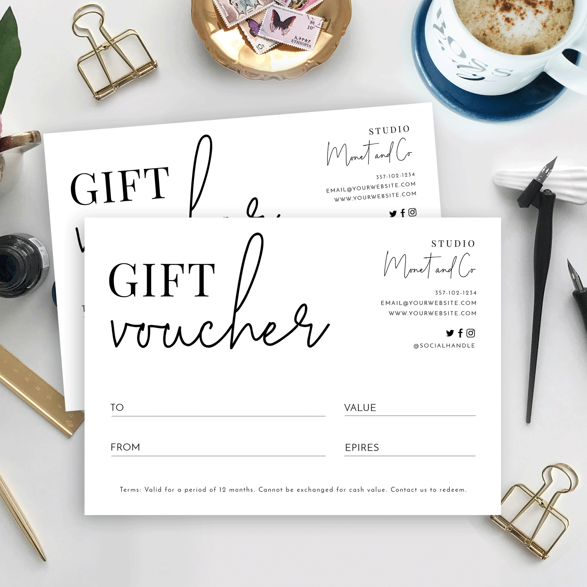 Minimalist Gift Certificate Template  Printable Gift with Quality Black And White Gift Certificate Template Free