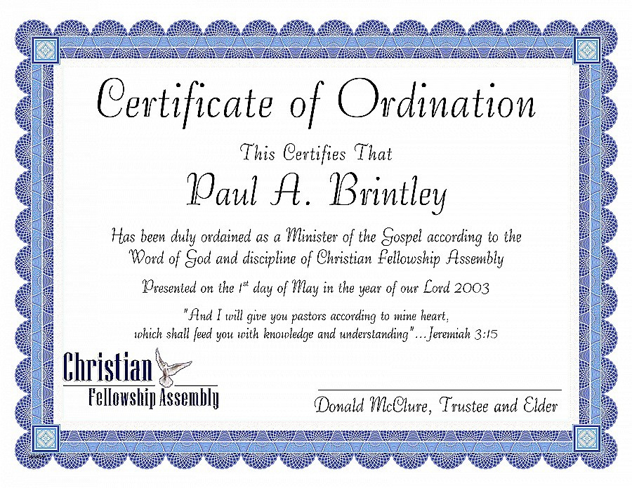 Minister License Template  Carlynstudio inside Ordination Certificate Template